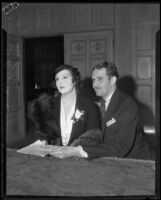 Constance D. Simpson and James Roche in court over an Olvera Street dispute, Los Angeles, 1929
