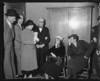 Kidnap victim Mary B. Skeele and husband Walter Skeele with suspects Luella Pearl Hammer and Earl Van Dorn, Los Angeles, 1933