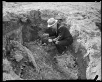 Law enforcement official with the Mary Skeele kidnapping case examining a hole dug in the ground, 1933