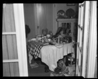 Dining room of the bungalow house where kidnapping victim Mary Skeele was held, Pasadena, 1933