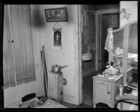 Bedroom of the bungalow house where kidnapping victim Mary Skeele was held, Pasadena, 1934