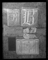 Six objects on fabric background, possibly related to Fay Sudow murder case, [1920?]