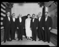 Louis Sentous, French Consul, with Asian and American officials, Los Angeles, circa 1920-1927
