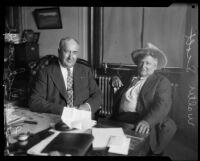 "Walter E. Scott, or ""Death Valley Scotty"" and Louis Schwabee (?), circa 1925-1935"