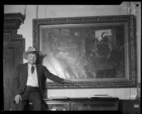 "Walter E. Scott, or ""Death Valley Scotty"" in front of a painting, circa 1925 -1935"