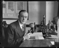 Document examiner J. Clark Sellers in lab, 1933