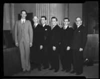 Lucien Shaw, Judge Hartley Shaw, and four other men, 1932 or 1933