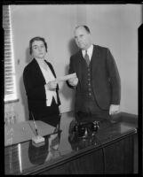 Evangelist Rheba Crawford Splivalo and Los Angeles County Treasurer Howard Byram, [Los Angeles?], 1931