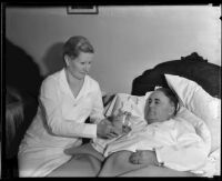 Los Angeles Mayor Frank Shaw ill in bed, [Los Angeles?], 1935