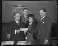 Los Angeles Mayor Frank Shaw and others in mayor's office, Los Angeles, 1933-1938