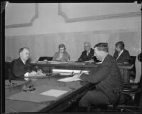 Frank Shaw and two men and two women at desks, [Los Angeles?], [1930-1938?]