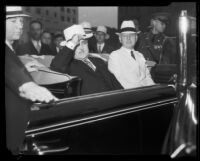 Los Angeles Mayor Frank Shaw in car, [Los Angeles?], 1933-1938