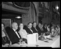 Los Angeles Mayor Frank Shaw, Mrs. Cora Shaw, and others at formal dinner, 1933-1938