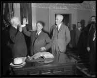 Frank Shaw being sworn in as mayor of Los Angeles, Los Angeles, 1933