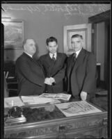 Los Angeles Mayor Frank Shaw, Russian Consul General M. G. Galkovich, and Soviet Ambassador Alexander Troianovsky, Los Angeles, 1935