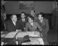 Los Angeles Mayor Frank Shaw and Philippine delegation to Washington, Los Angeles, 1935