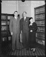 Judge Joseph P. Sproul, Roland St. John Braddell, and Estelle Braddell, Los Angeles, 1932
