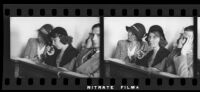 Ruth Smith, mother of kidnaped baby, 2 filmstrip images, San Bernardino or San Francisco, 1930