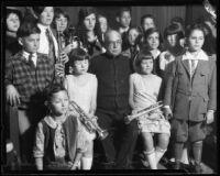 Composer John Philip Sousa with school-age musicians at Philharmonic Auditorium, Los Angeles, 1926