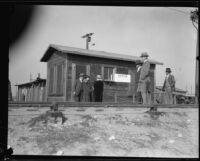Small wooden building, probably on the grounds of the Southern California Edison electric plant, Long Beach, [1930?]