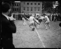 "Young men in homecoming ""brawl,"" University of Southern California, Los Angeles, [1928?]"