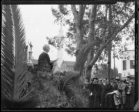 Rufus B. Von Kleinsmid speaking at a ceremony at University of Southern California, Los Angeles, 1932