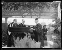 Rufus B. Von Kleinsmid and other faculty members, University of Southern California graduation, Los Angeles Memorial Coliseum, Los Angeles, 1932