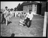 "Young men in homecoming ""brawl,"" University of Southern California, Los Angeles, 1928"