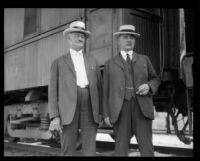 "William H. Whalen and another man with Southern Pacific ""Prosperity Special"" train, Los Angeles, 1922"
