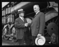 "Southern Pacific officials with ""Prosperity Special"" train, Los Angeles, 1922"
