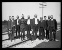 "Southern Pacific officials gathered for the arrival of the ""Prosperity Special"" train, Los Angeles, 1922"