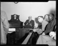 Coroner Frank Nance, Los Angeles Superintendent of Parks Frank Shearer, and jury, [Los Angeles?], [1933?]