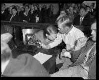 Murder suspects Violet and Otis Shields in court, 1935