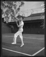 Francis X. Shields playing tennis, 1932