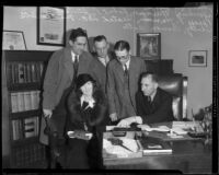 Charlotte Shelby and attorneys in District Attorney Buron Fitts' office, Los Angeles, 1932