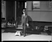 Senator Samuel M. Shortridge in front of train, [Glendale?], [1926?]