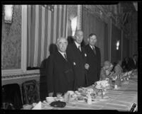 Charles C. Chapman, Samuel M. Shortridge, and John R. Quinn posing at banquet, Los Angeles, 1932