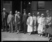 Senator Samuel M. Shortridge and others posing in front of train, Glendale, [1926?]