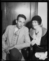 Kenneth Shumway and Nina Shumway, husband and mother-in-law of embezzlement suspect Marie Shumway, 1932