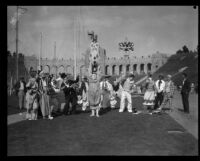 Clowns performing in Shrine Circus, Los Angeles Memorial Coliseum, Los Angeles, 1929