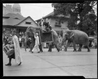 Elephants in Shriners' parade, Los Angeles, 1934