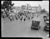 Marching band in Shriners' parade, Los Angeles, 1934
