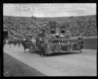 Raymond Avenue School students on float, Shriners' parade, Los Angeles Memorial Coliseum, Los Angeles, 1925