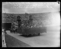 Manchester Avenue School students on float, Shriners' parade, Los Angeles Memorial Coliseum, Los Angeles, 1925