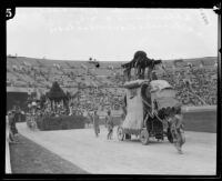 Virgil Junior High School students in float, Shriners' parade, Los Angeles Memorial Coliseum, Los Angeles, 1925