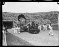 Selma Avenue School students, on and around float, Shriners' parade, Los Angeles Memorial Coliseum, Los Angeles, 1925