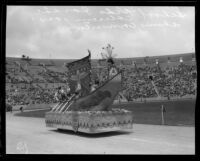 Sixty-Eighth Street School students on float, Shriners' parade, Los Angeles Memorial Coliseum, Los Angeles, 1925