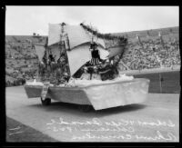 Berendo Junior High School students in costume on float depicting California history, Shriners' parade, Los Angeles Memorial Coliseum, Los Angeles, 1925