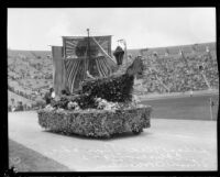 San Pedro High School students with float, Shriners' parade, Los Angeles Memorial Coliseum, Los Angeles, 1925