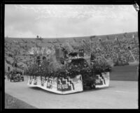 Normandie Avenue School students with float, Shriners' parade, Los Angeles Memorial Coliseum, Los Angeles, 1925
